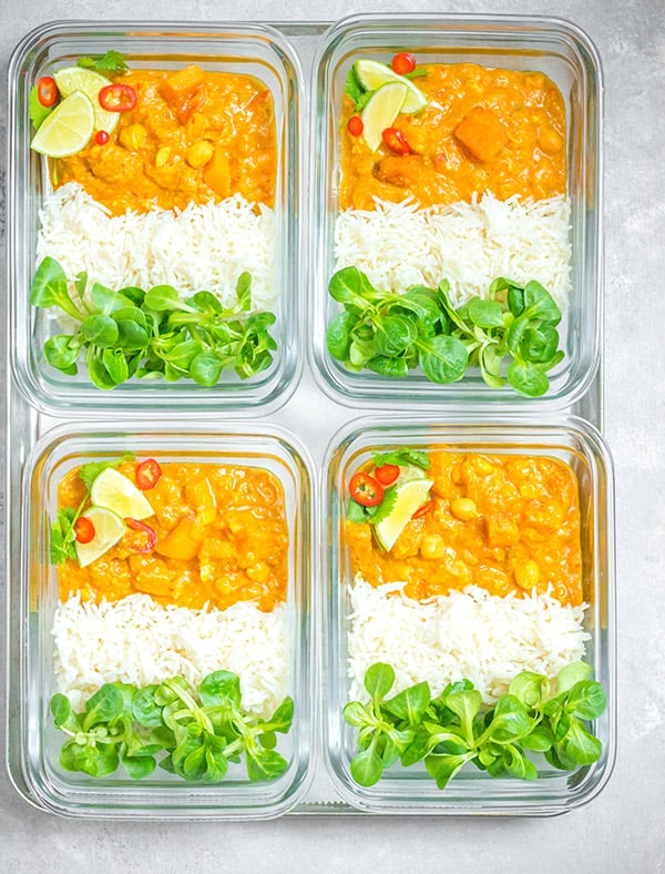 sweet potato curry in meal prep bowls
