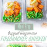 Pinterest tall pin of meal prep firecracker chicken