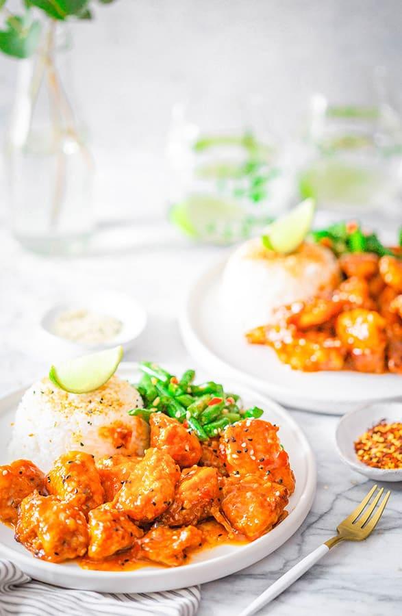 firecracker chicken on plates