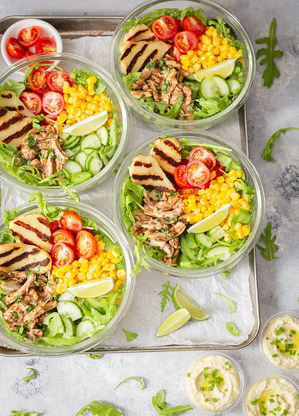 Baked Jerk Chicken and Halloumi Meal Prep Bowls
