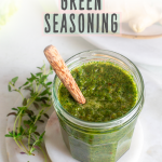 Image with Caribbean green seasoning in a jar