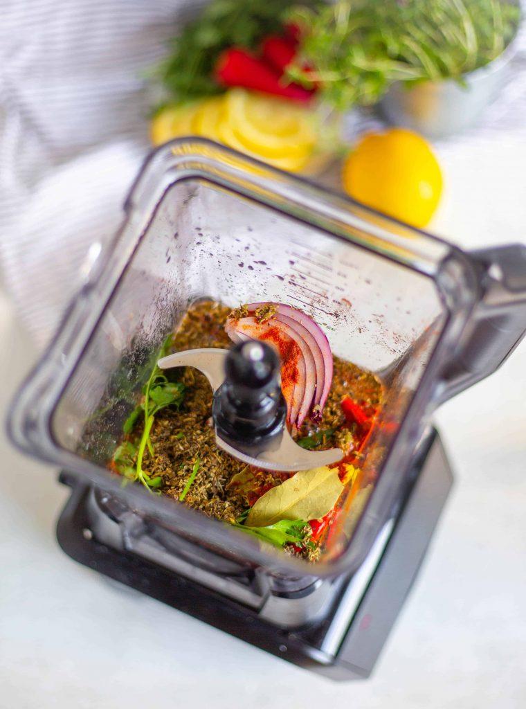 Peri peri sauce ingredients in a blender jug before being pulsed