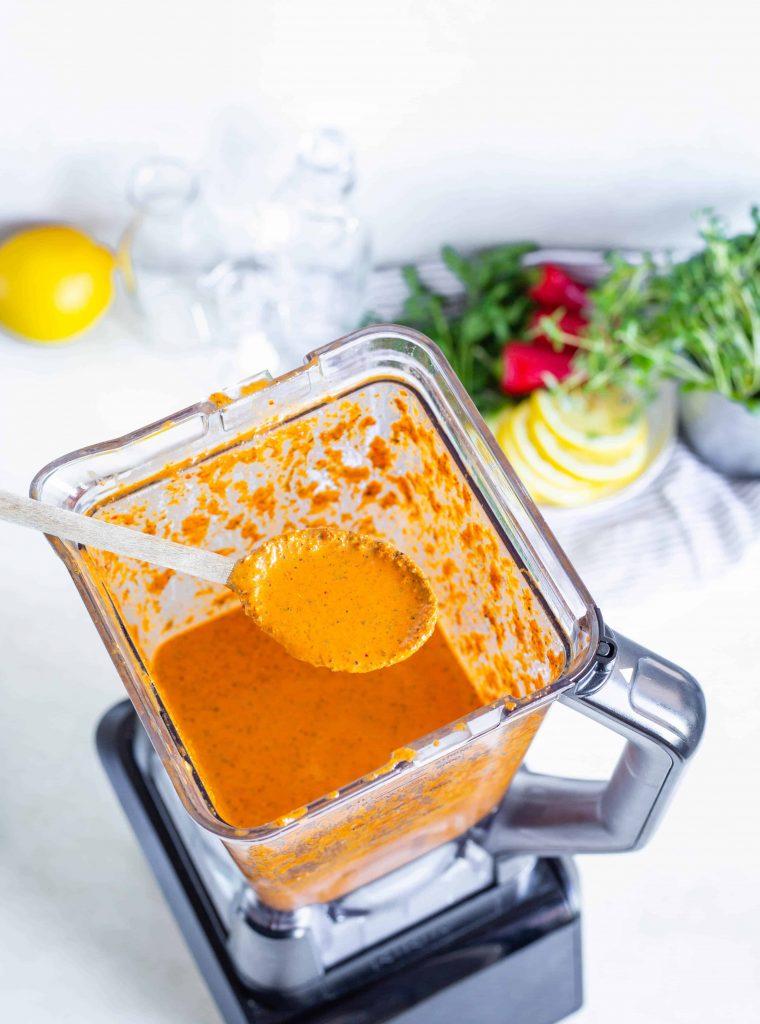 peri peri sauce in a blender jug