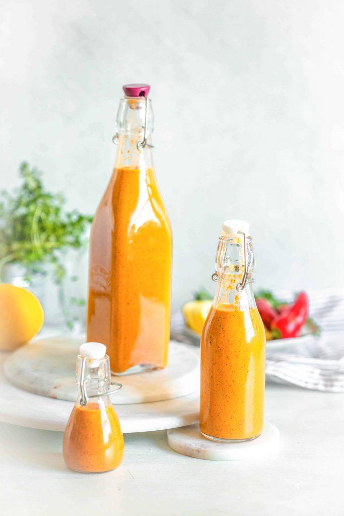 Bottles of peri peri sauce