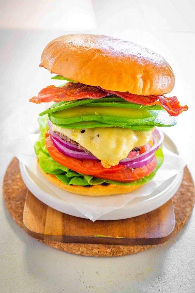 bacon avocado burger finished