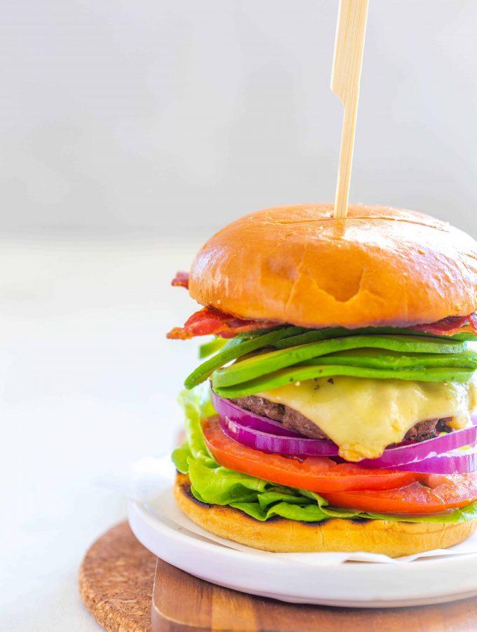 Gourmet Bacon Avocado Ground beef burger recipe