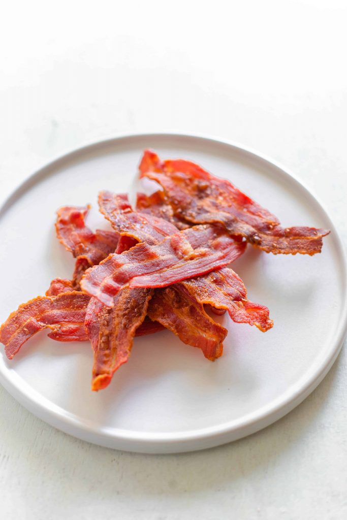crispy bacon oven baked on a plate