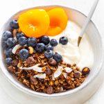 chocolate granola and greek yogurt