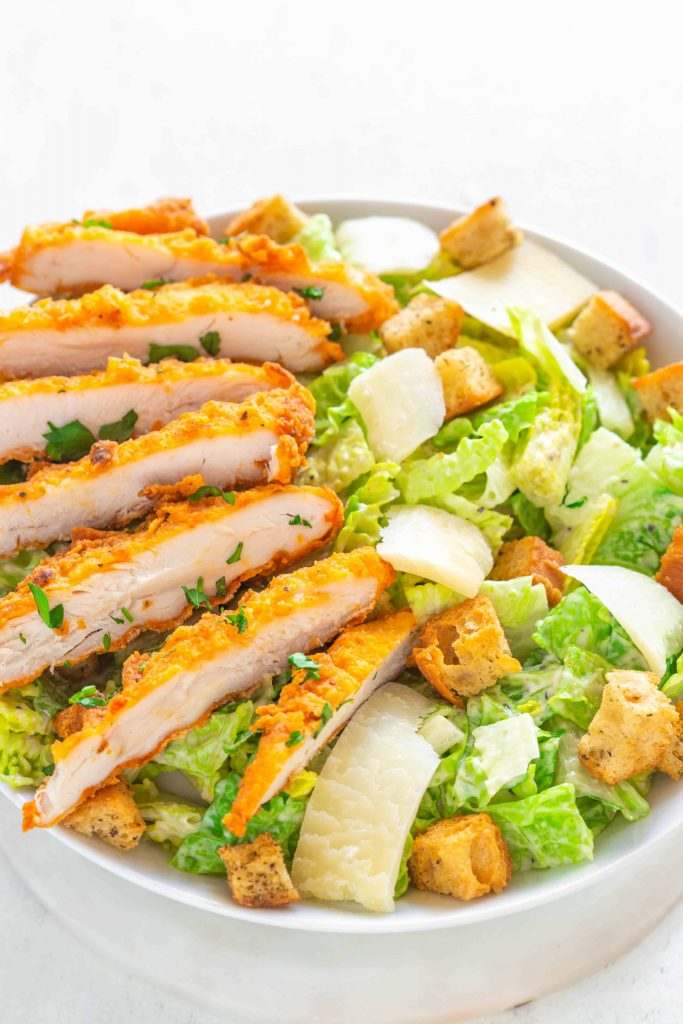 croutons on a chicken caesar salad