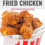 pinterest pin of air fried kfc chicken in a bucket