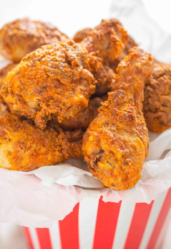 air fried kfc chicken in a takeaway bucket