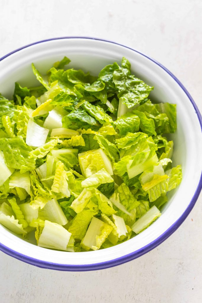 bowl of chopped Romaine lettuce