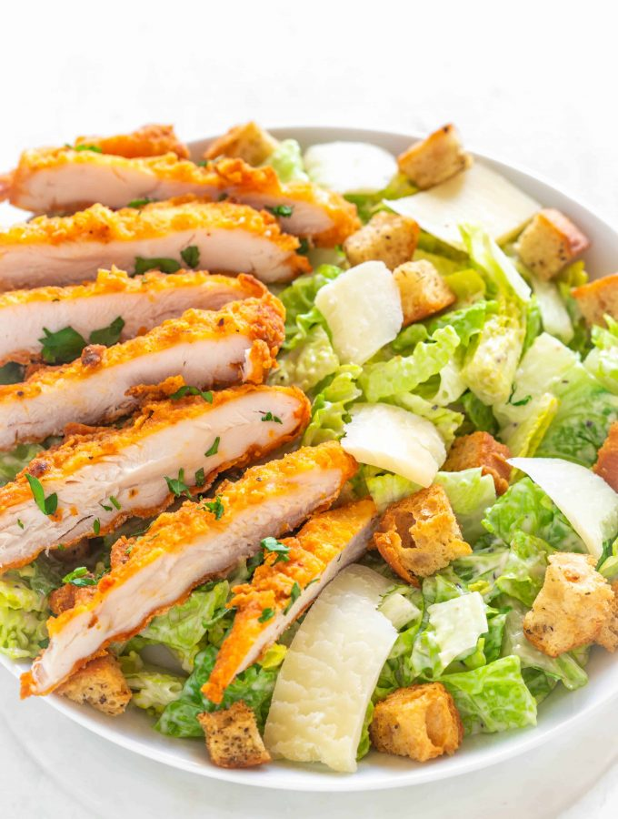 Cajun Air fryer Crispy Chicken Caesar Salad Recipe