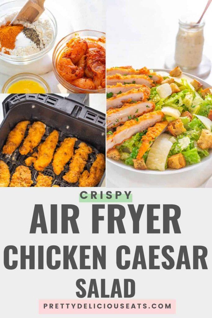Air fryer Crispy Cajun Chicken Caesar Salad PIN