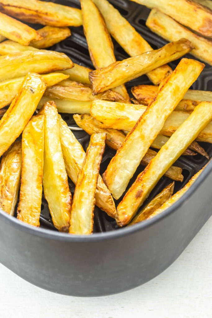 cooked air fryer french fries close up shot