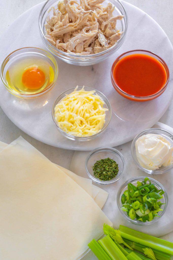 Ingredients shot buffalo chicken egg rolls
