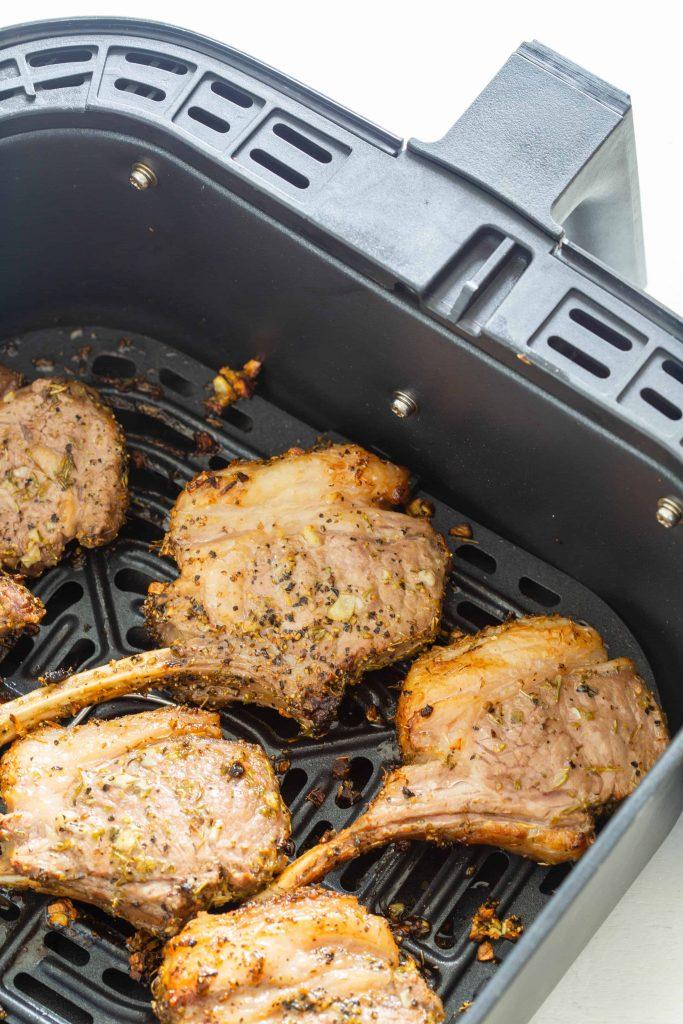 air fryer lamb chops in the basket