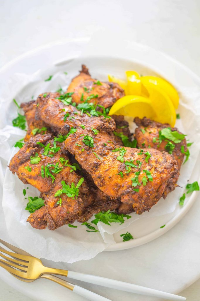 air fryer chicken thighs shawarma on a plate