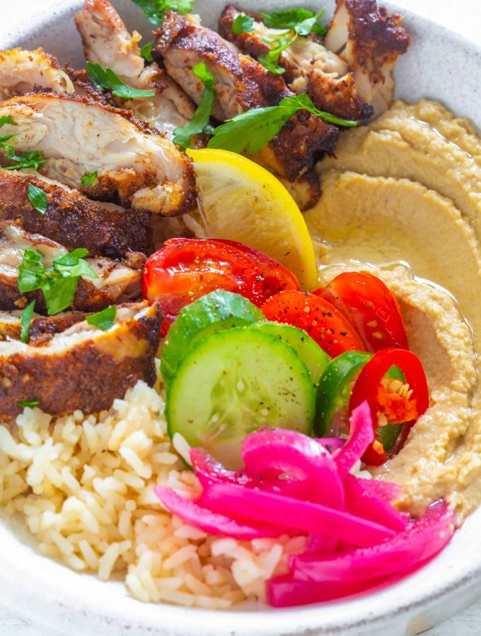 Air Fryer Chicken Shawarma Rice Bowls