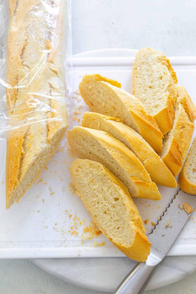 French baguette bread slice for garlic bread