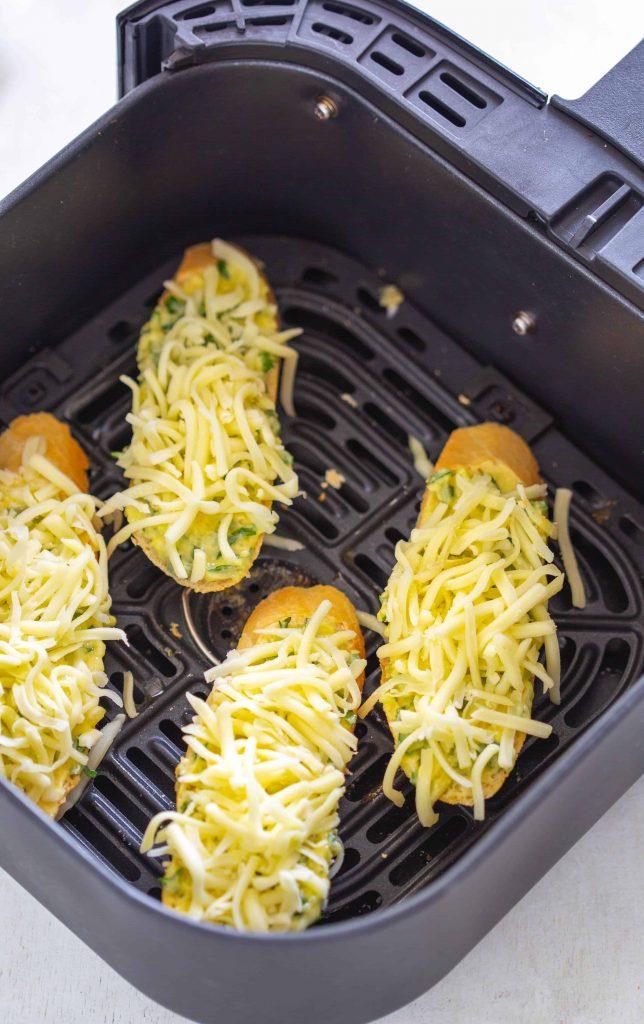 Air Fryer Cheesy Garlic Bread in the basket