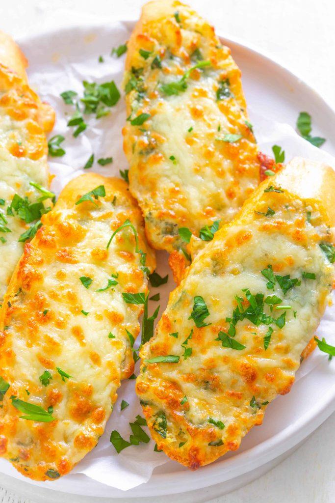 Air Fryer Cheesy Garlic Bread Recipe on a plate