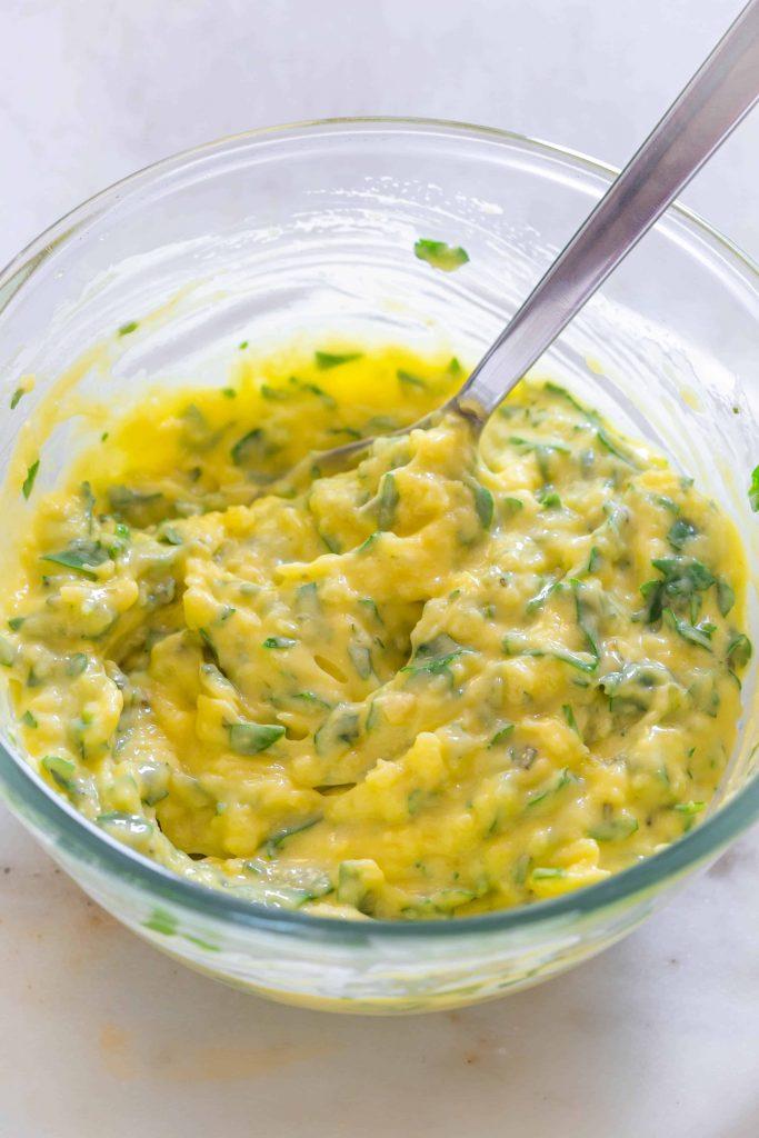 Fresh homemade garlic butter in a bowl