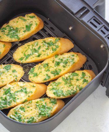 Air fryer garlic bread in a basket