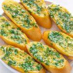 Air fryer garlic bread on a plate