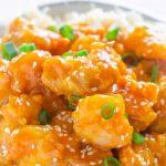 close up of Air Fryer Orange Chicken