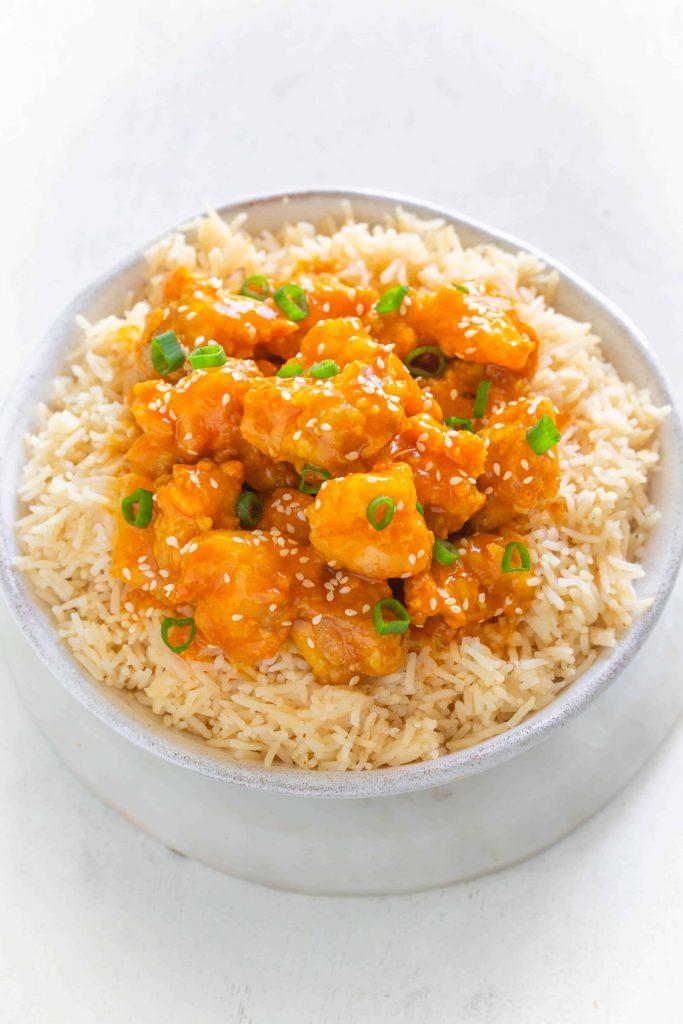 Air fryer orange chicken in bowl